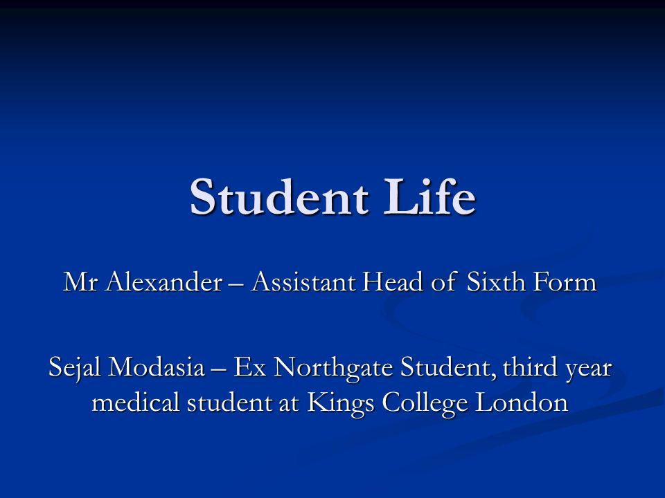 Mr Alexander – Assistant Head of Sixth Form