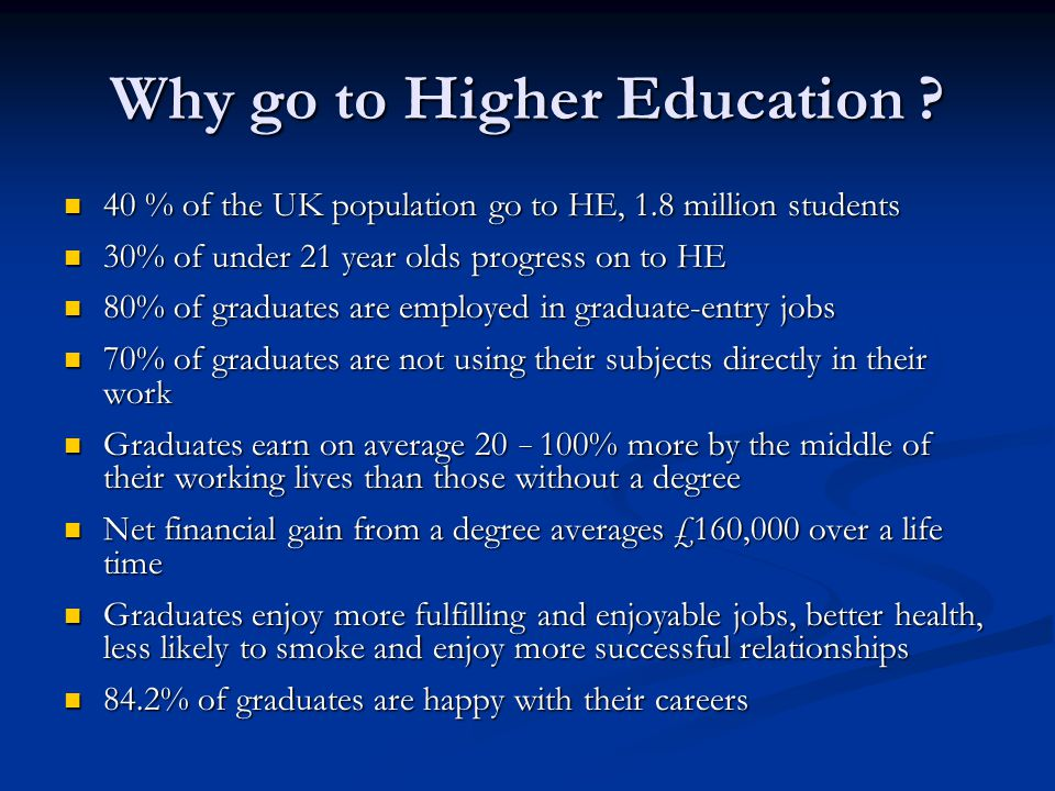 Why go to Higher Education
