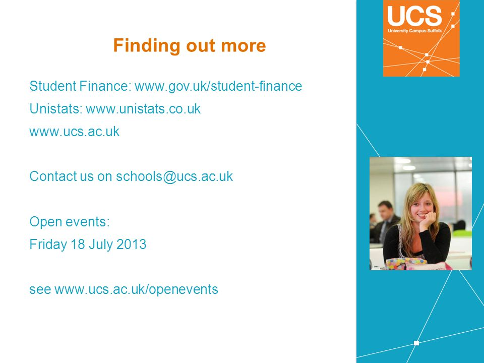 Finding out more Student Finance: www.gov.uk/student-finance
