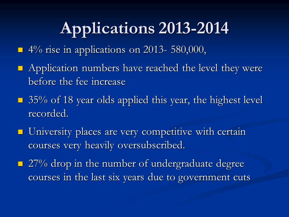 Applications 2013-2014 4% rise in applications on 2013- 580,000,