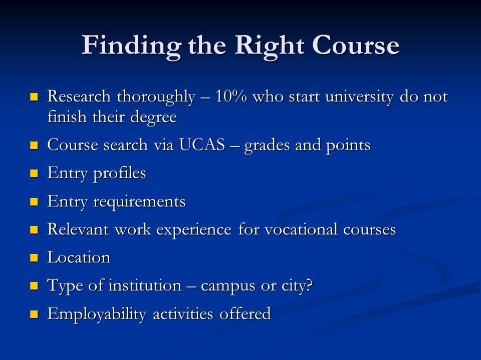 Finding the Right Course