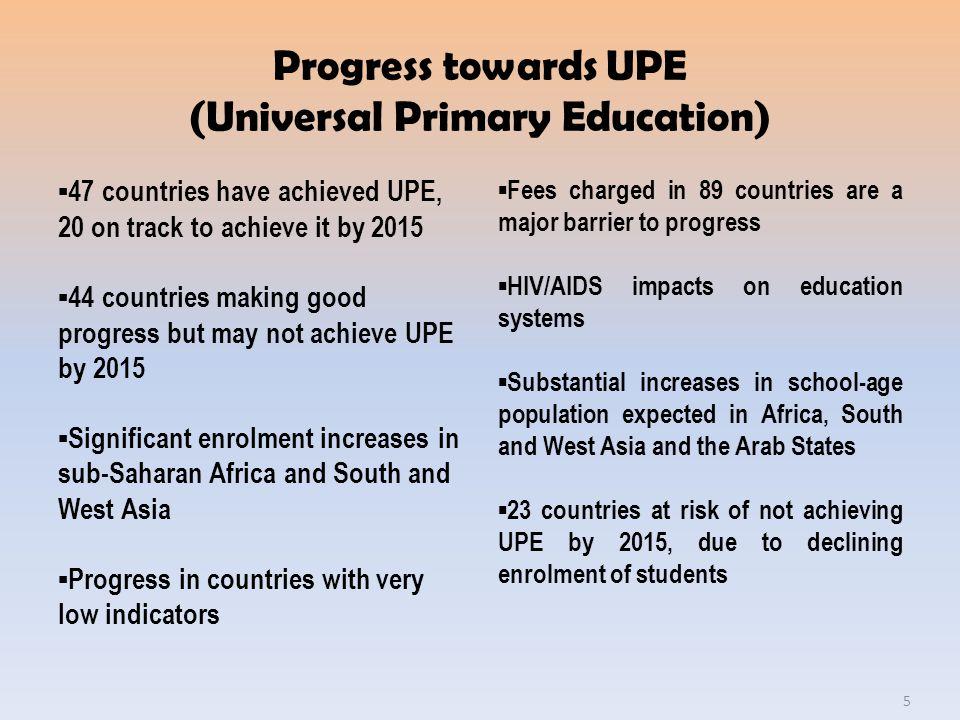 Progress towards UPE (Universal Primary Education)
