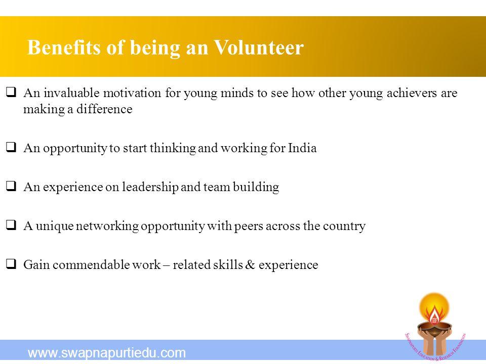 Benefits of being an Volunteer