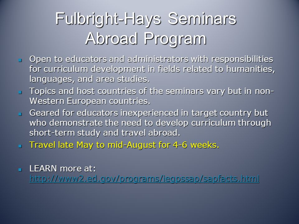 Fulbright-Hays Seminars Abroad Program