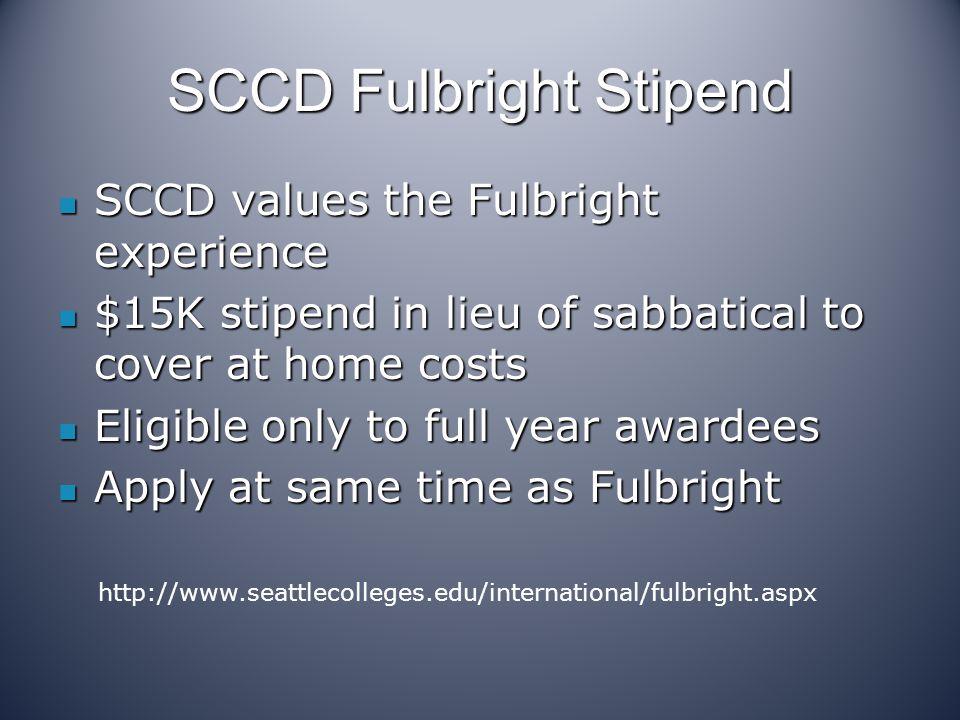 SCCD Fulbright Stipend