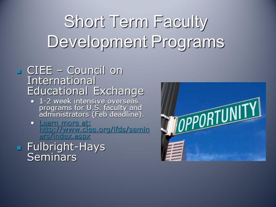 Short Term Faculty Development Programs