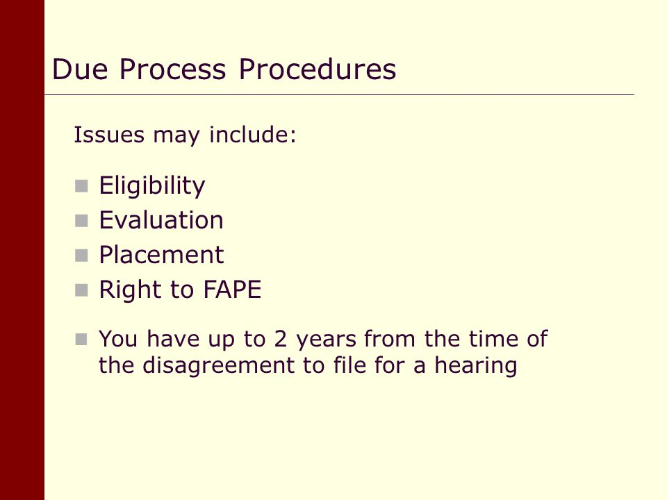 Due Process Procedures