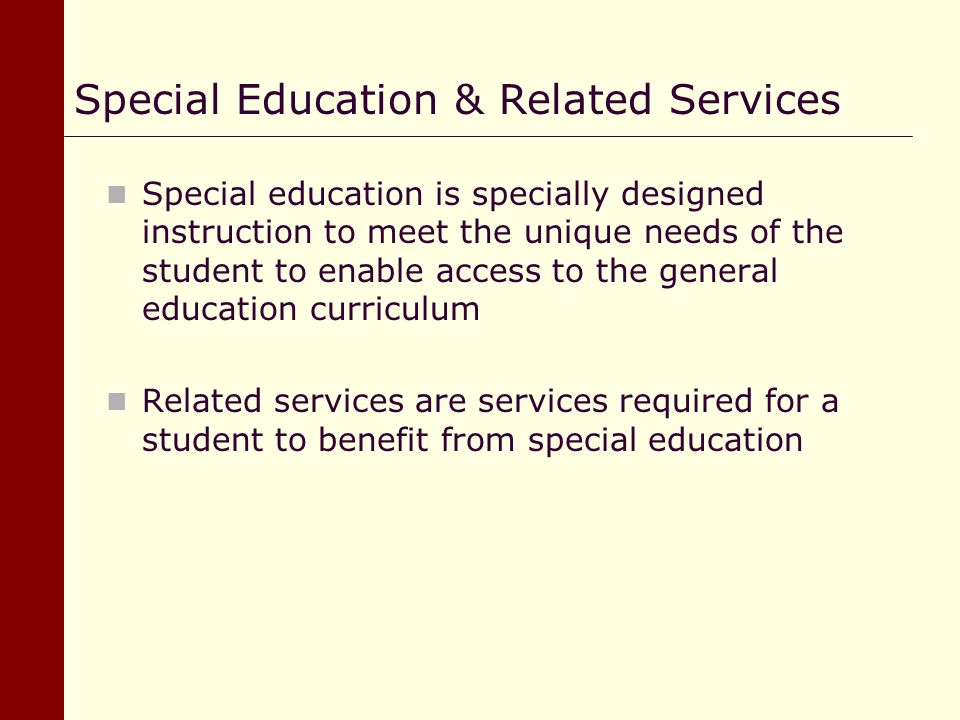 Special Education & Related Services