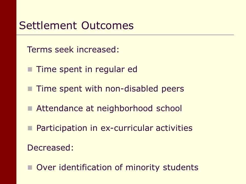 Settlement Outcomes Terms seek increased: Time spent in regular ed