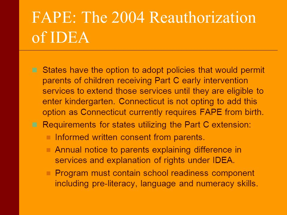 FAPE: The 2004 Reauthorization of IDEA