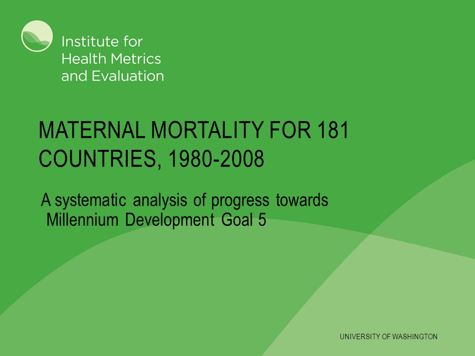 Maternal mortality for 181 countries, 1980-2008