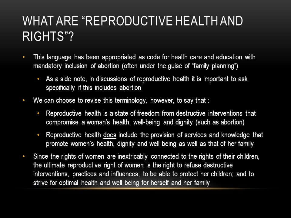 What are reproductive health and rights