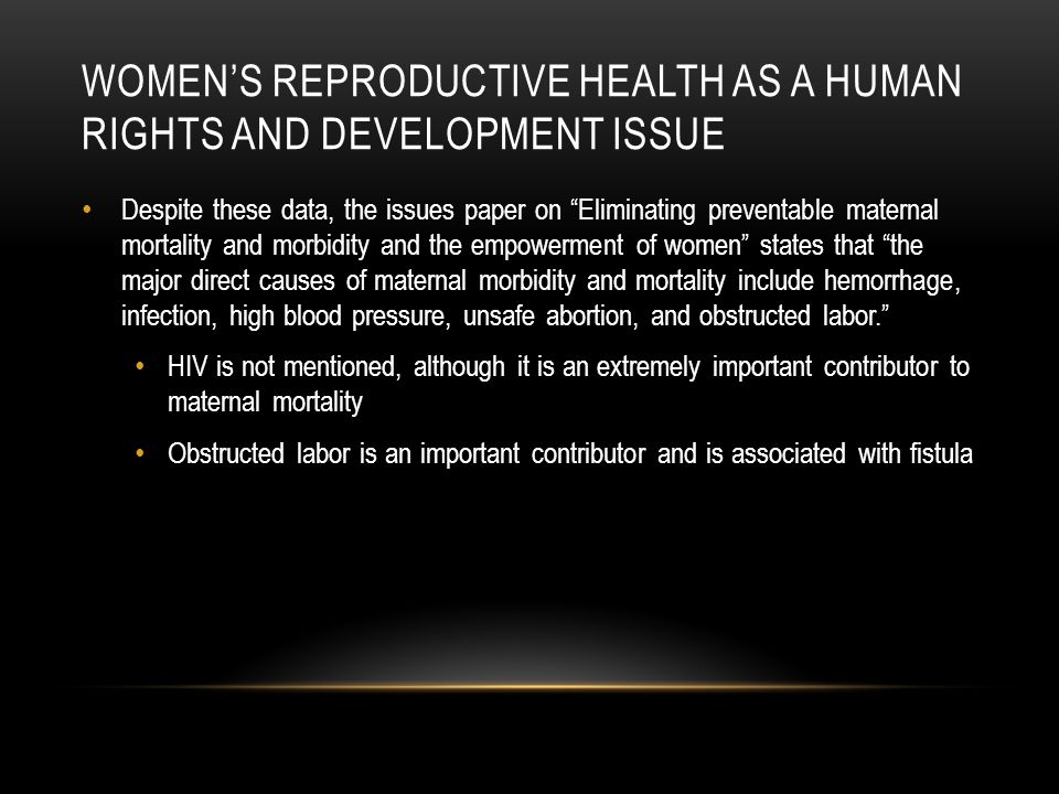 Women's reproductive health as a human rights and development issue