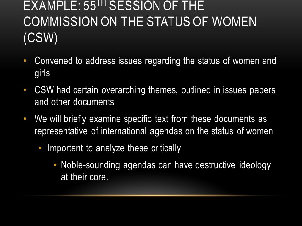 Example: 55TH SESSION OF THE COMMISSION ON THE STATUS OF WOMEN (CSW)