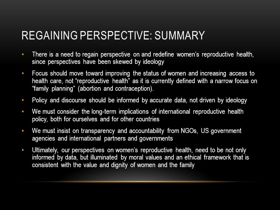 regaining perspective: summary