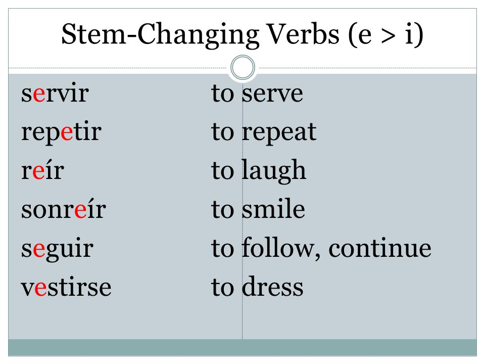 Stem-Changing Verbs (e > i)