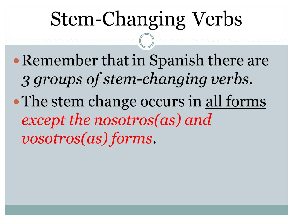 Stem-Changing Verbs Remember that in Spanish there are 3 groups of stem-changing verbs.