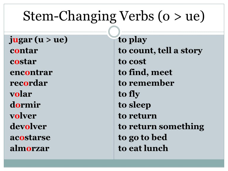 Stem-Changing Verbs (o > ue)