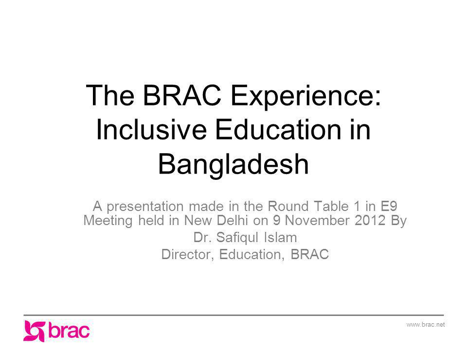 The BRAC Experience: Inclusive Education in Bangladesh