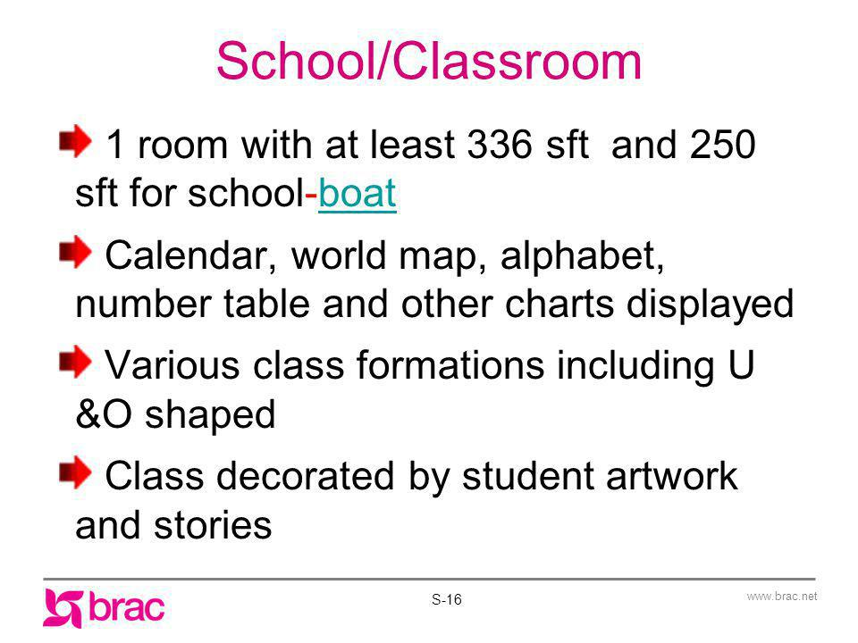 1 School/Classroom. 1 room with at least 336 sft and 250 sft for school-boat.