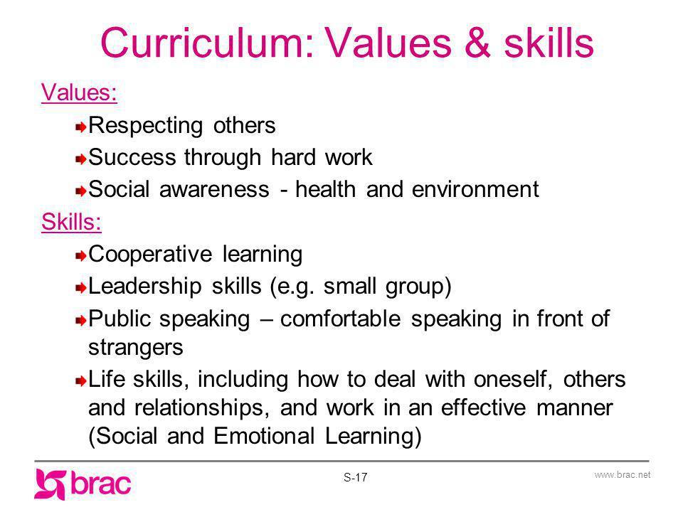 Curriculum: Values & skills