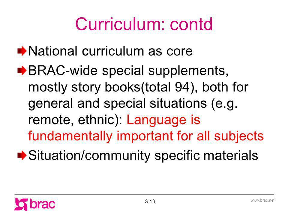 Curriculum: contd National curriculum as core