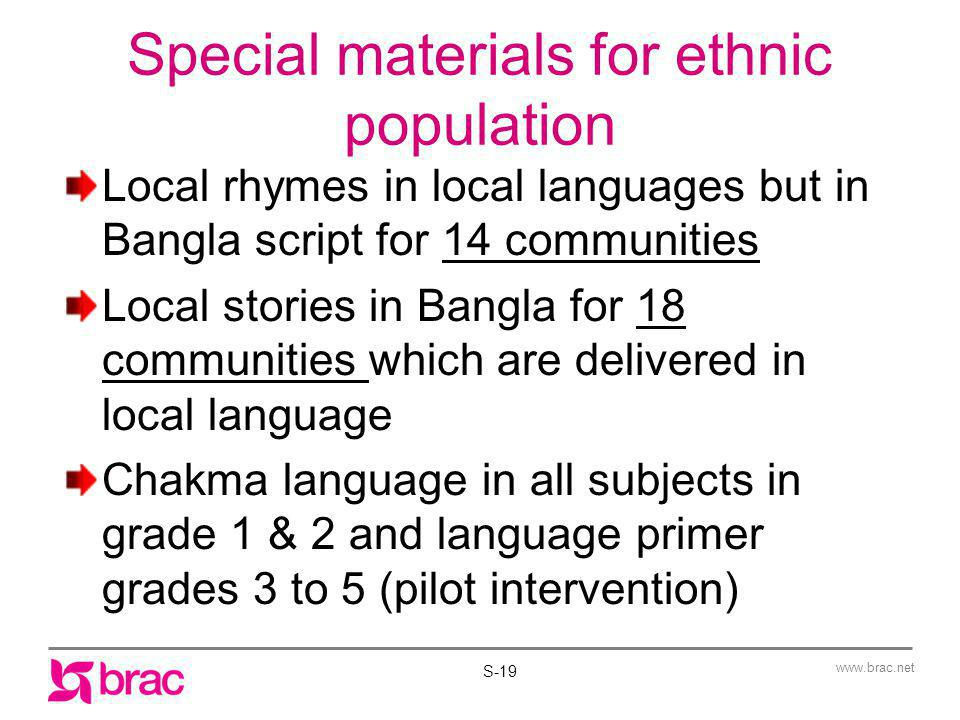 Special materials for ethnic population