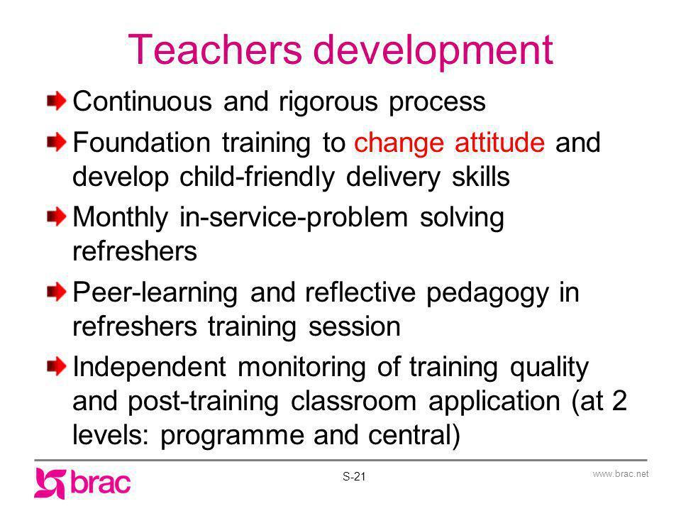 Teachers development Continuous and rigorous process