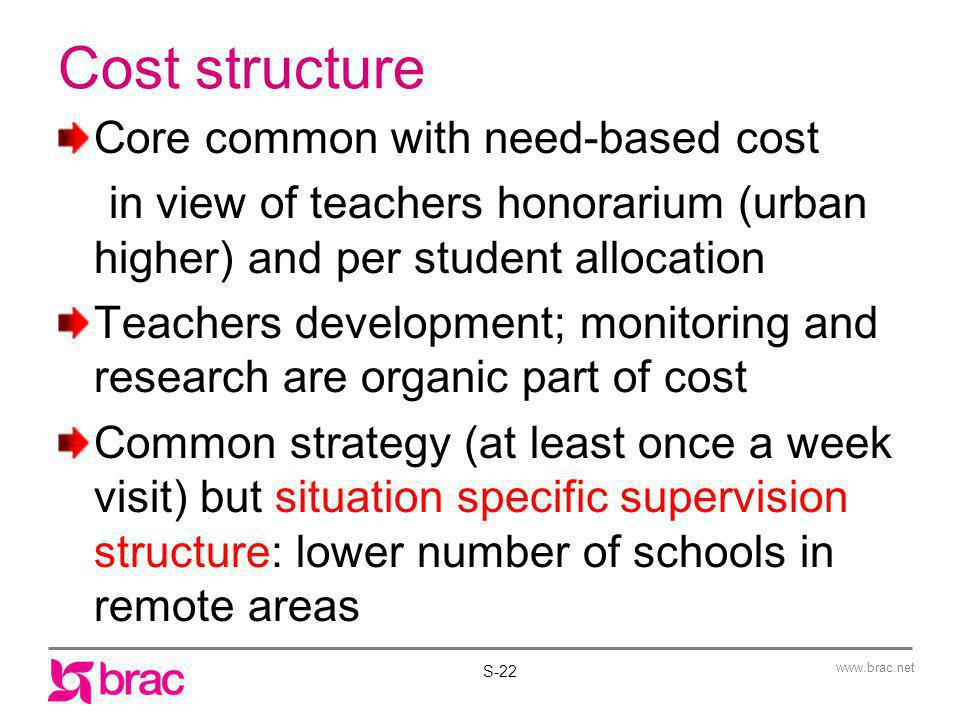 Cost structure Core common with need-based cost