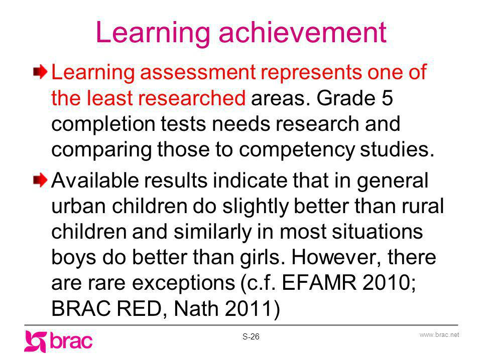 Learning achievement