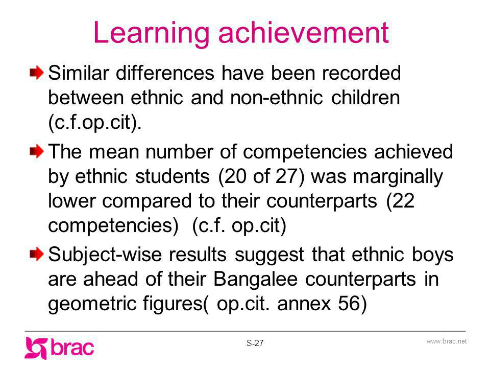 Learning achievement Similar differences have been recorded between ethnic and non-ethnic children (c.f.op.cit).
