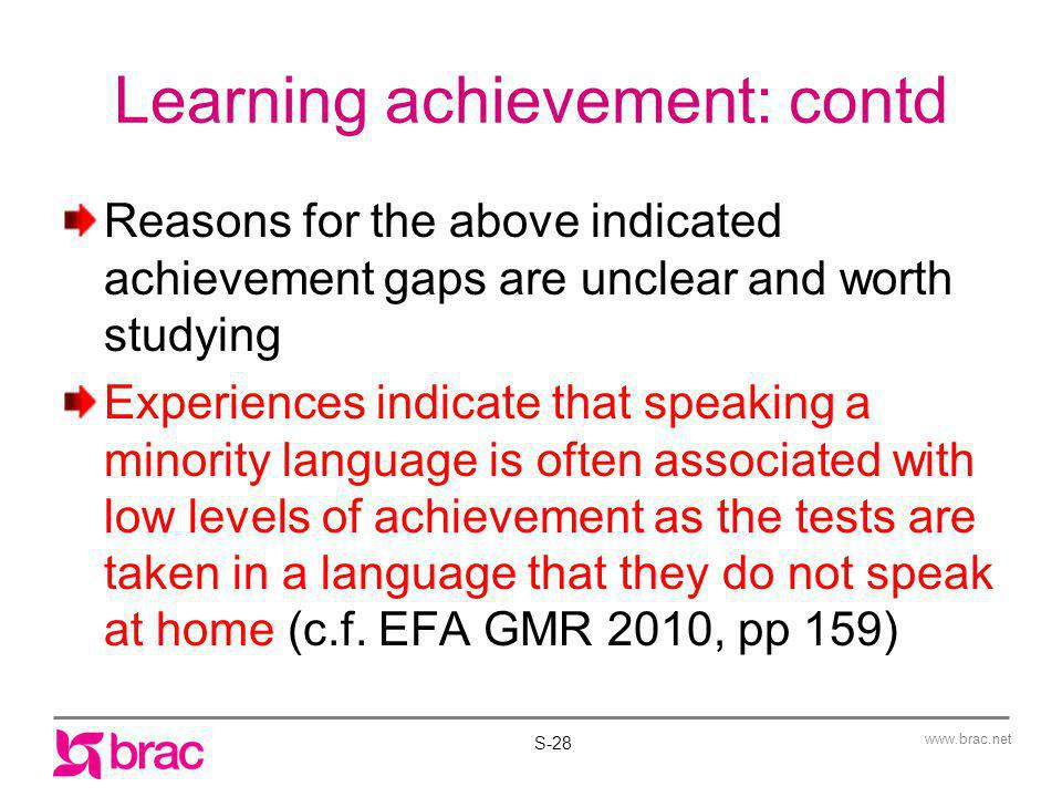 Learning achievement: contd