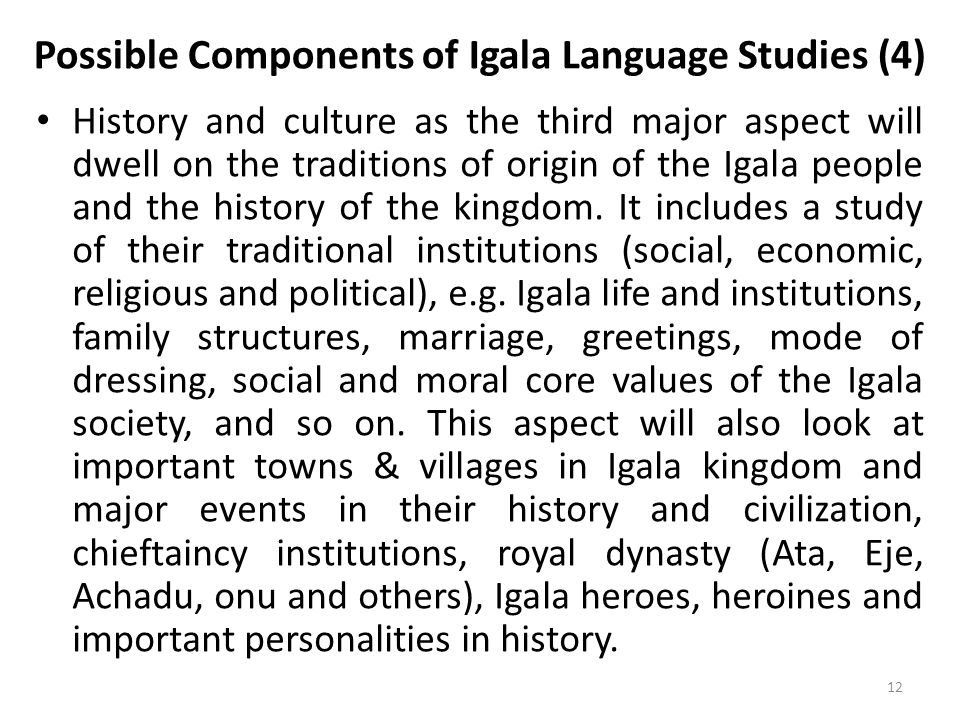 Possible Components of Igala Language Studies (4)