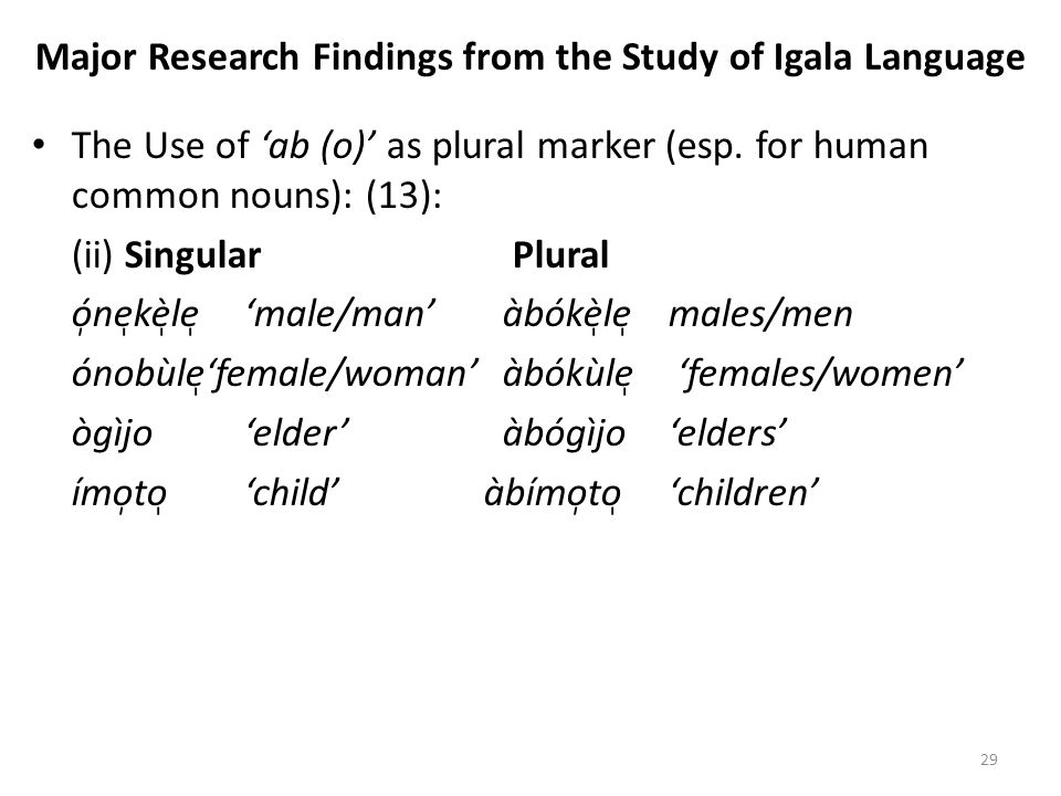 Major Research Findings from the Study of Igala Language
