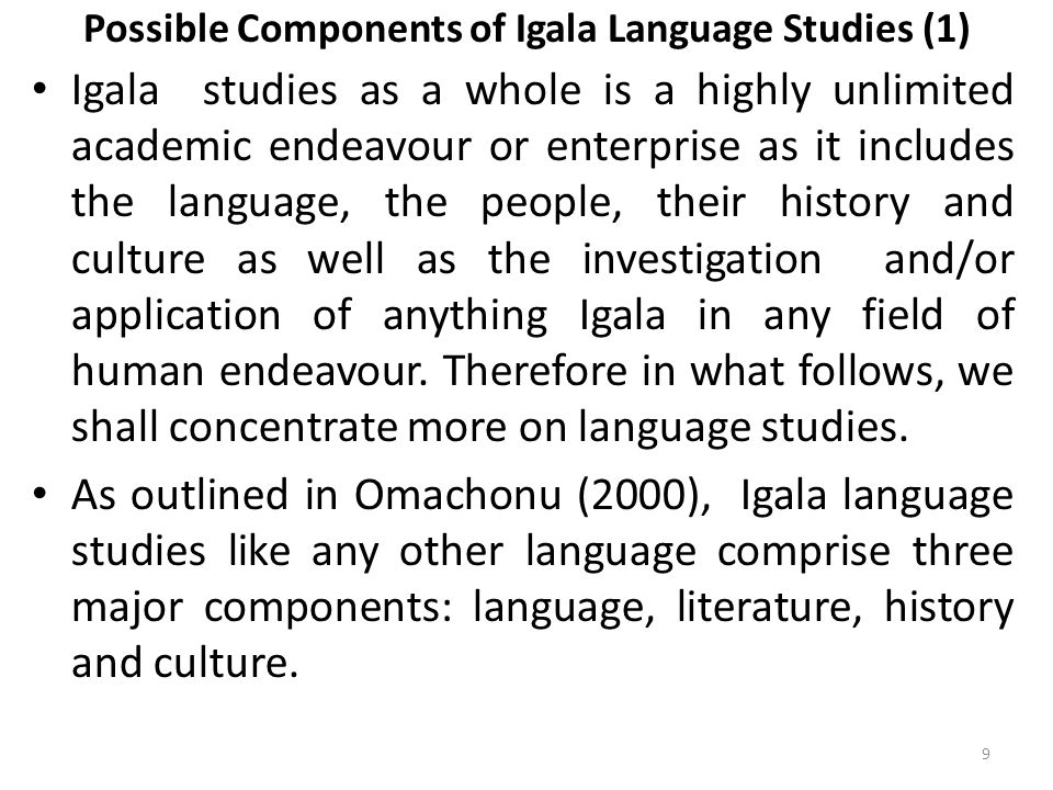 Possible Components of Igala Language Studies (1)