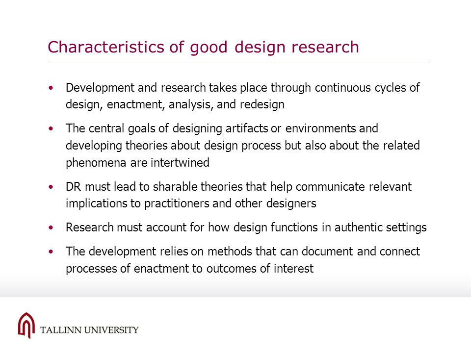 Characteristics of good design research