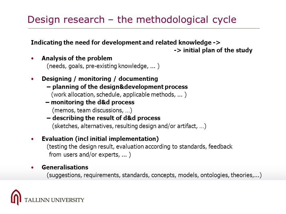 Design research – the methodological cycle