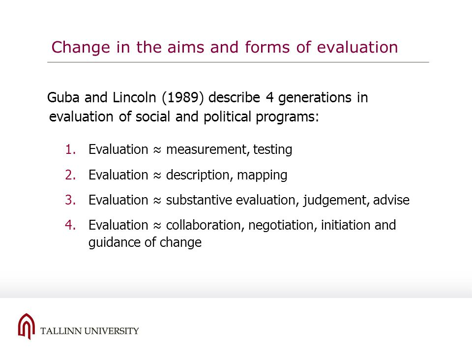 Change in the aims and forms of evaluation