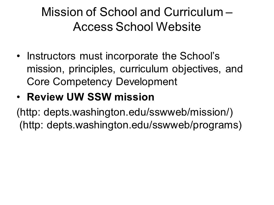 Mission of School and Curriculum – Access School Website