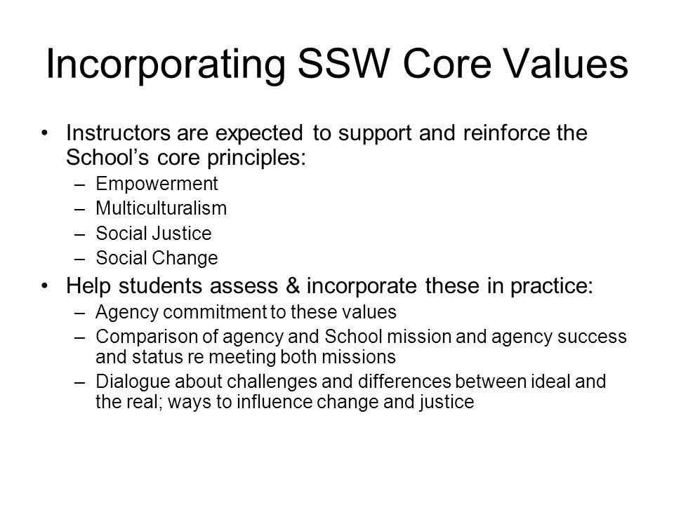 Incorporating SSW Core Values