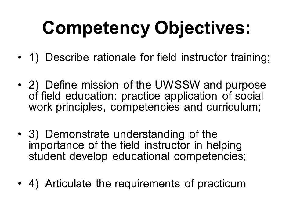 Competency Objectives: