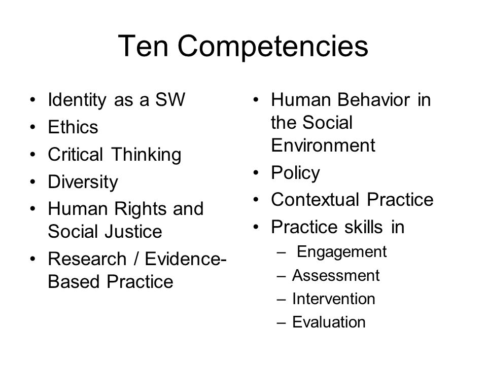 Ten Competencies Identity as a SW Ethics Critical Thinking Diversity