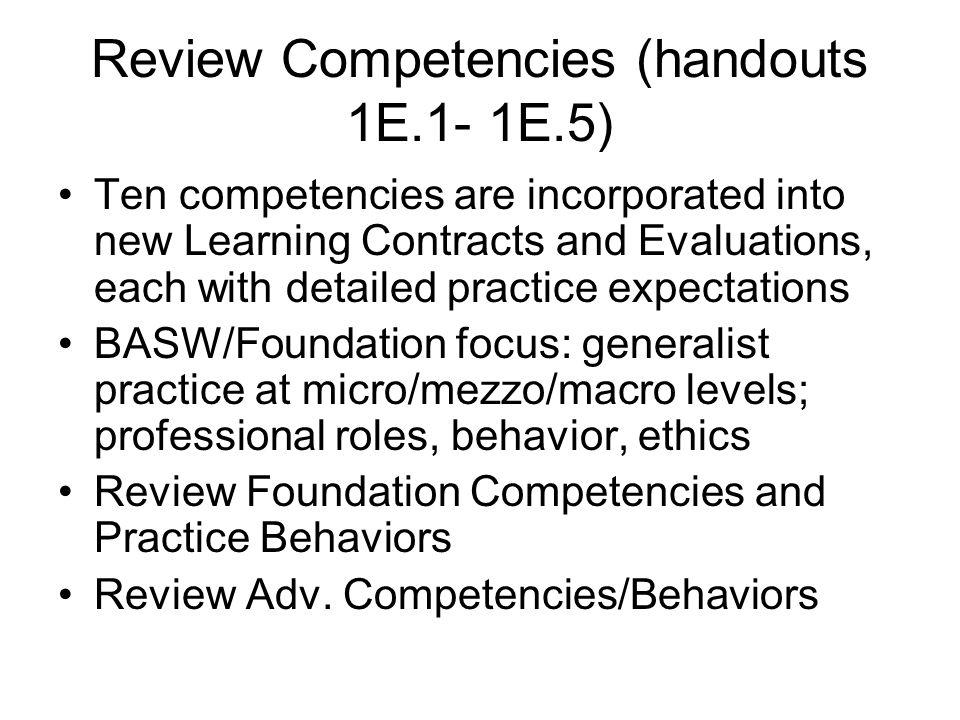 Review Competencies (handouts 1E.1- 1E.5)