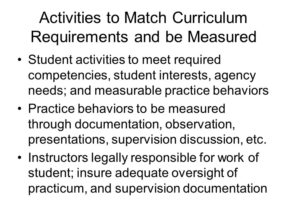 Activities to Match Curriculum Requirements and be Measured