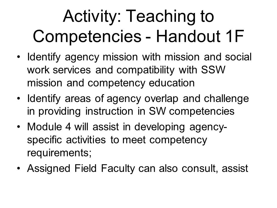 Activity: Teaching to Competencies - Handout 1F