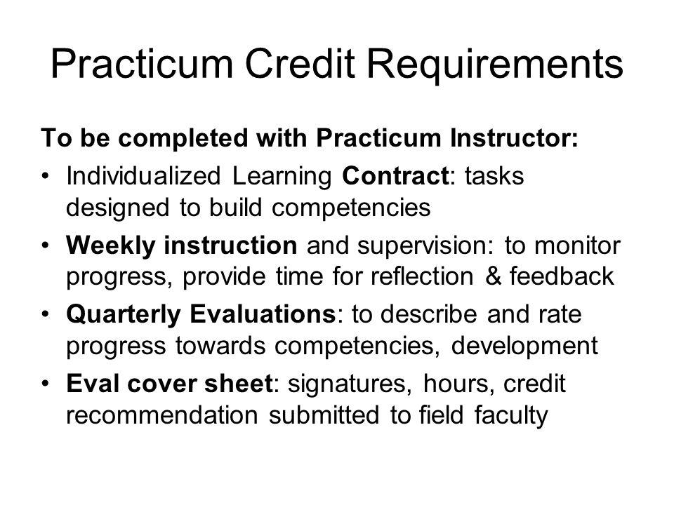 Practicum Credit Requirements