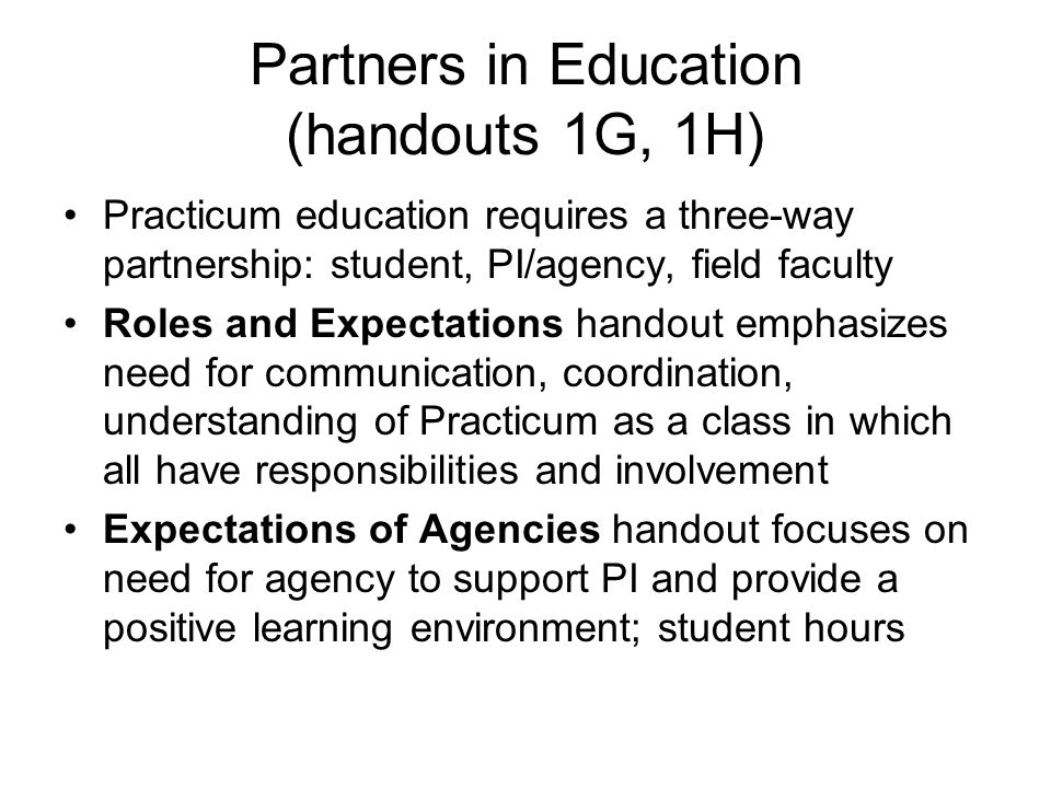 Partners in Education (handouts 1G, 1H)