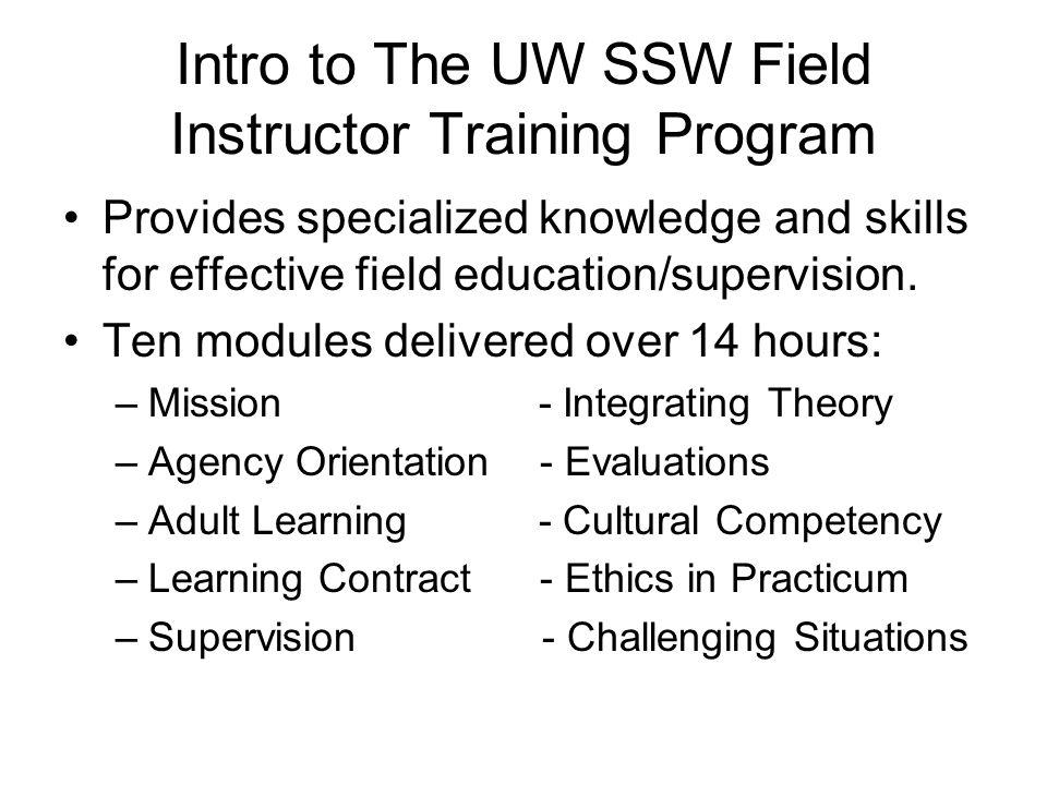 Intro to The UW SSW Field Instructor Training Program