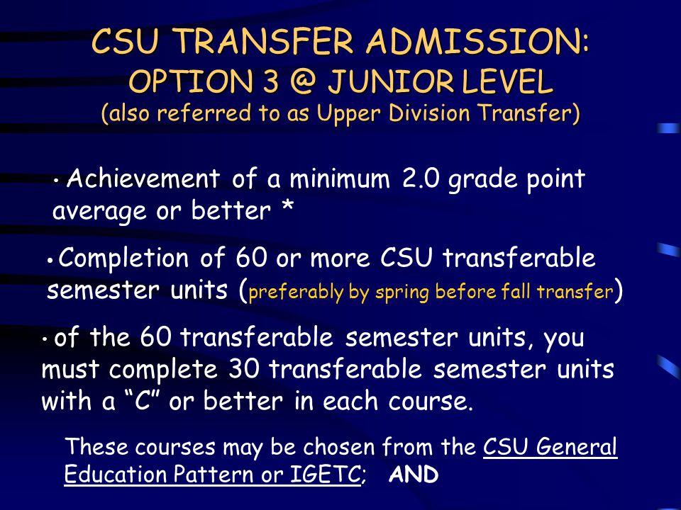 CSU TRANSFER ADMISSION: