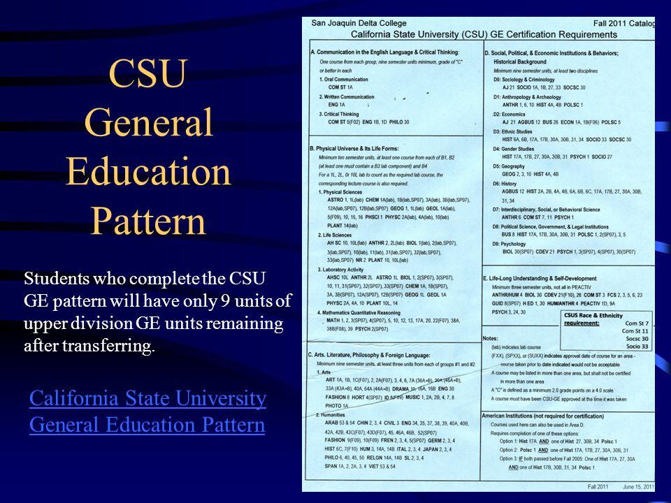 CSU General Education Pattern
